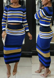 Blue Striped Print Two Piece Round Neck Bodycon Party Elegant Midi Dress
