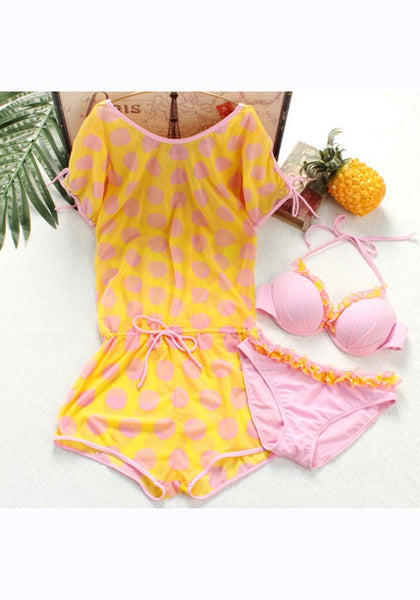 Yellow Floral 2-in-1 Drawstring Cut Out Condole Belt Three-piece Swimwear