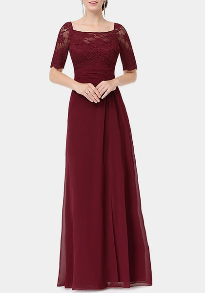 Burgundy Patchwork Lace Draped Side Slit Chiffon Backless Elegant Party Maxi Dress
