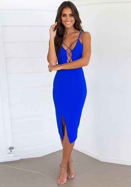 Royal Blue Backless paghetti Straps Slit Bandage Lace-up Las Vegas Party Maxi Dress