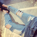 Blue Buttons Cut Out Zipper High Waisted Casual Long Jeans