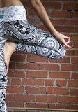 Black Floral Lace Print Casual Long Pants
