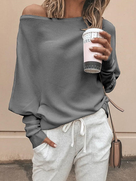 Grey Asymmetric Shoulder Long Sleeve Going out Pullover Sweater
