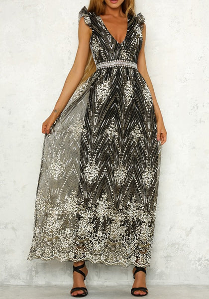 Black Patchwork Sequin Embroidery Cut Out Backless Homecoming Maxi Dress