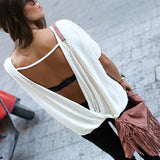 White Plain Cut Out Backless Short Sleeve T-Shirt