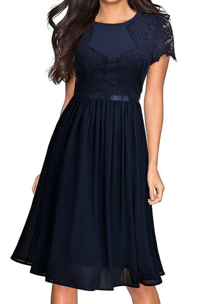 Dark Blue Patchwork Lace Zipper Short Sleeve Chiffon Midi Dress