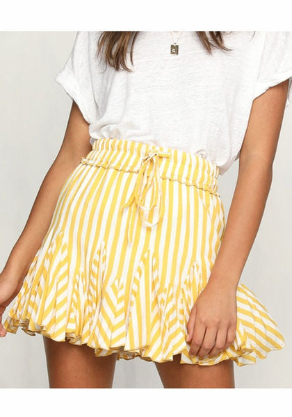 Yellow Striped Ruffle Drawstring Above Knee High Waisted Skirt