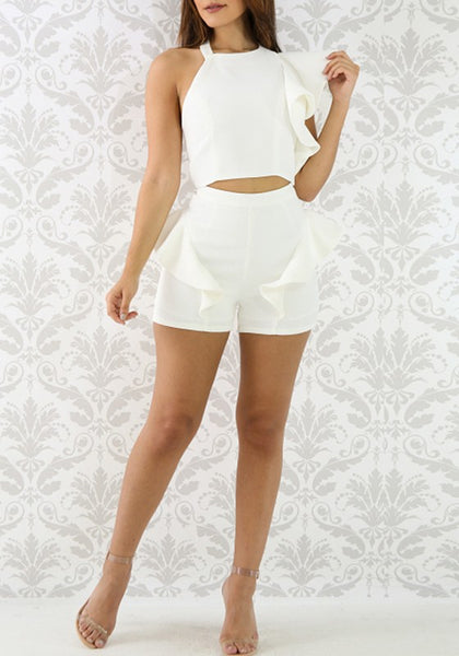 White Ruffle Cut Out Crop Asymmetric Shoulder Two Piece Beach Party Shorts Jumpsuit