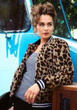Brown Leopard Striped Buttons Band Collar Long Sleeve Faux Fur Coat