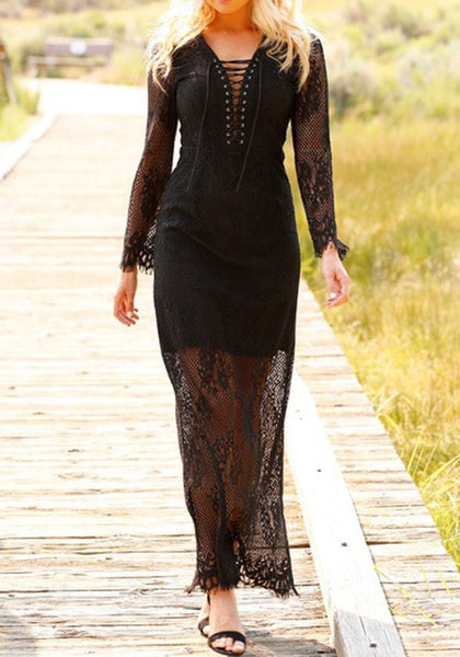 Black Patchwork Lace Drawstring Plunging Neckline Maxi Dress