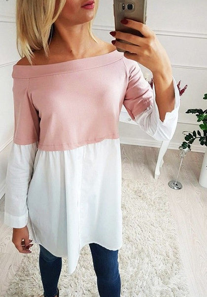 Pink Patchwork Buttons Boat Neck Casual T-Shirt