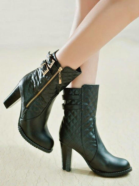 New Black Round Toe Chunky Double Buckle Fashion Ankle Boots