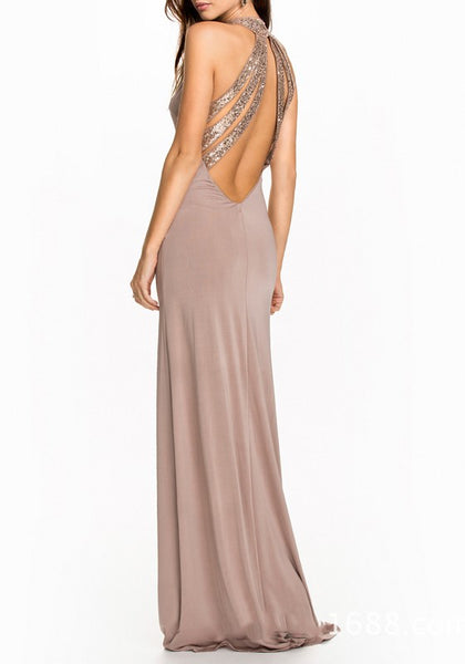 Pink Patchwork Sequin Halter Neck Backless Mermaid Elegant Maxi Dress