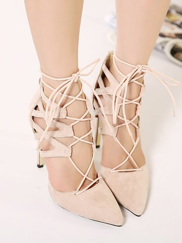 Apricot Point Toe Stiletto Fashion High-Heeled Sandals