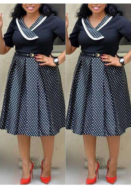 Black-White Polka Dot Pleated Formal Plus Size Short Sleeve Party Banquet Midi Dress
