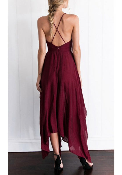 Wine Red Plain Irregular Cross Back V-neck Maxi Dress