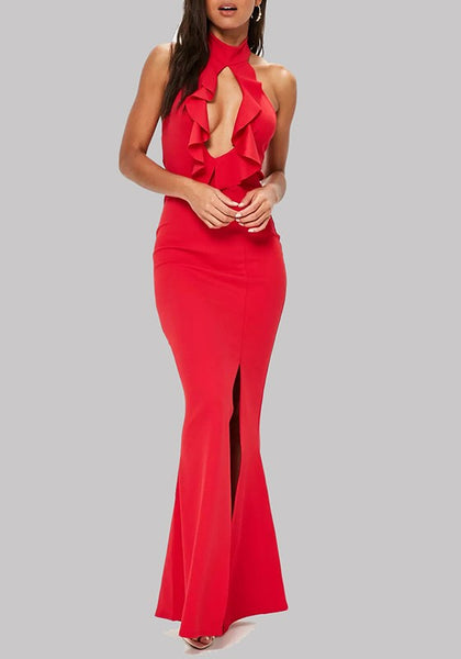 Red Cut Out Ruffle Backless Halter Neck Side Slit Off-Shoulder Prom Evening Party Maxi Dress