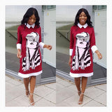 Red Figure Print Long Sleeve Peter Pan Collar Christmas Midi Dress