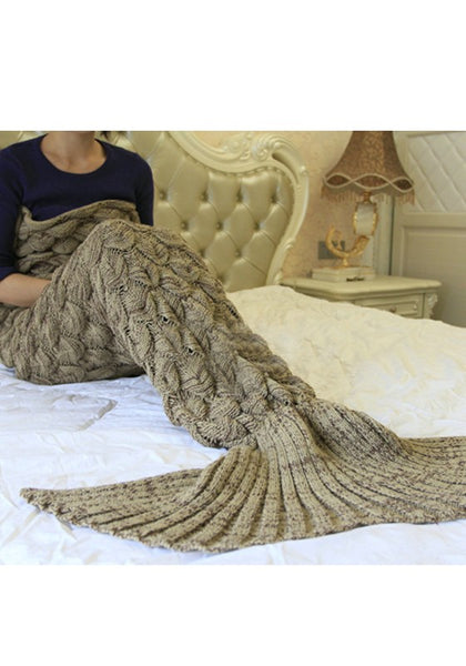 Coffee Draped Air Conditioning Blanket Fashion Fish Tail Maxi Dress