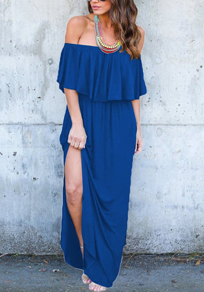 Blue Ruffle Draped Side Slit Off Shoulder High Waisted Sweet Party Maxi Dress