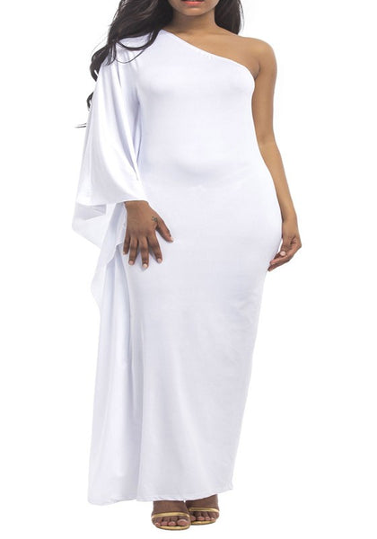 White Asymmetric Shoulder Draped Irregular One-shoulder Elegant Plus Size Overszie Maxi Dress