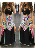 Black Tribal Floral Print Slit Tie Back Halter Neck Bohemian Maxi Dress