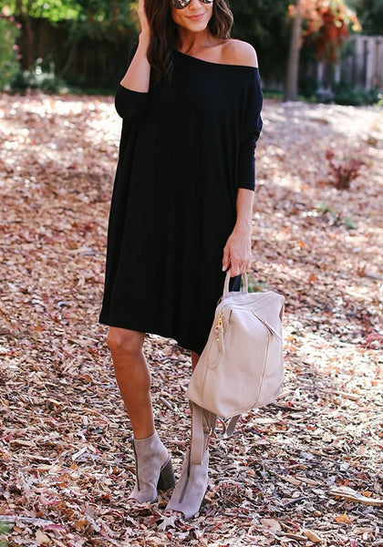 Black Round Neck Three Quarter Length Sleeve Casual Midi Dress