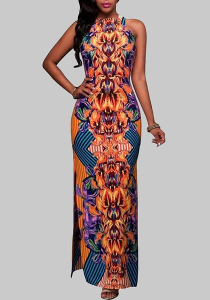 Orange Totem Pattern Double Slit African Style Bodycon Elegant Banquet Party Maxi Dress