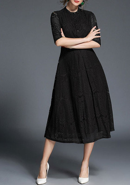 Black Buttons Sashes Cut Out Lace Round Neck Three Quarter Length Sleeve Fashion Maxi Dress