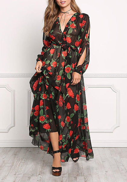 Black Floral Draped Sashes Deep V-neck Plus Size Long Sleeve Maxi Dress