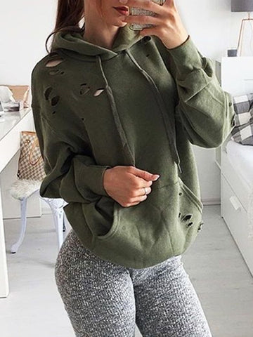 Army Green Pockets Drawstring Cut Out Hooded Long Sleeve Sweatshirt