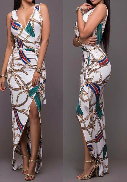 White Geometric Print Sashes Swallowtail Slit Irregular Cocktail Party Maxi Dress