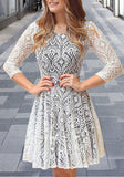 White Patchwork Lace Pleated Round Neck 3/4 Sleeve Midi Dress
