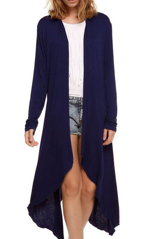 Dark Blue Irregular Long Sleeve Fashion Cardigan Outerwear