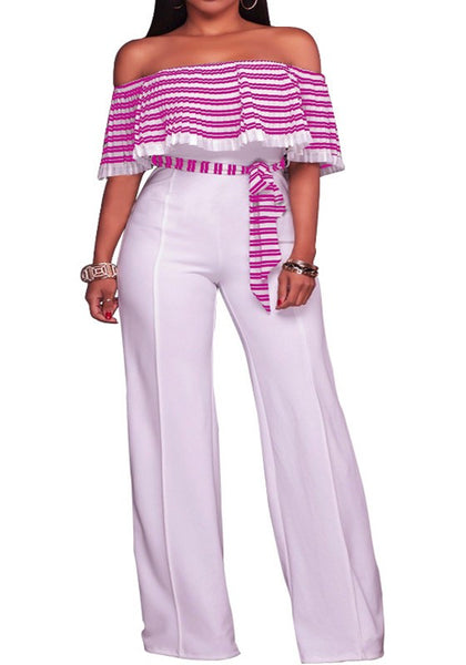 Rose Carmine Striped Pleated Ruffle Sashes Off Shoulder Wide Leg Long Jumpsuit