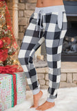 White-Black Plaid Pattern Drawstring Pockets High Waisted Casual Long Pants