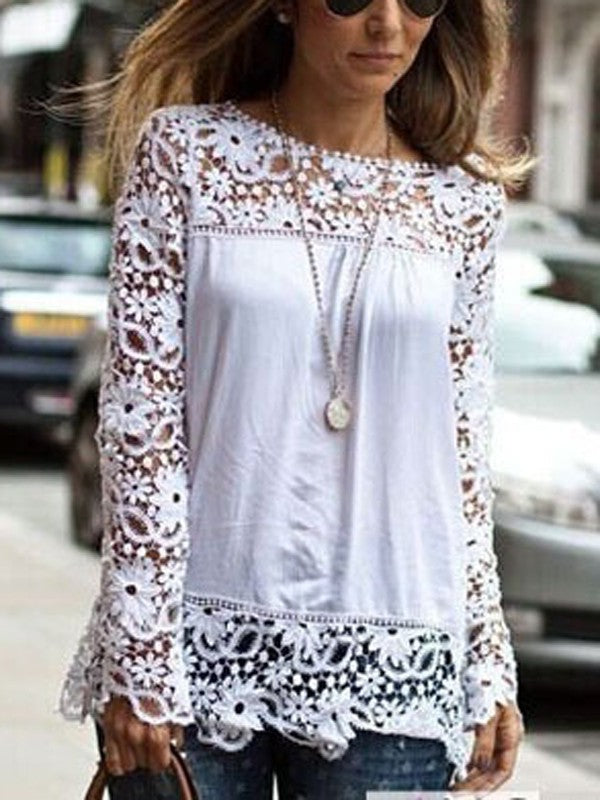 White Patchwork Lace Cut Out Round Neck Long Sleeve Elegant Blouse