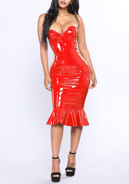 Red Ruffle PU-Leather Off Shoulder Mermaid Latex Bodycon Clubwear Party Midi Dress