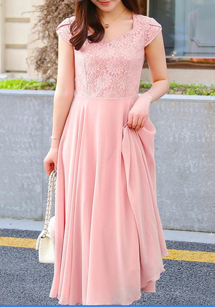 Pink Patchwork Draped Lace Grenadine Comfy Elegant Short Sleeve Bridesmaid Party Maxi Dress