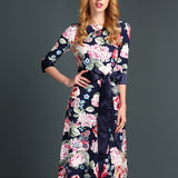 Multicolor Floral Ribbons Round Neck Fashion Maxi Dress