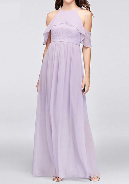 Purple Cut Out Ruffle Halter Neck Bridesmaid Wedding Banquet Prom Evening Party Chiffon Maxi Dress