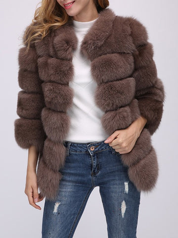 Dark Khaki Patchwork Faux Fur Turndown Collar Long Sleeve Fashion Outerwear