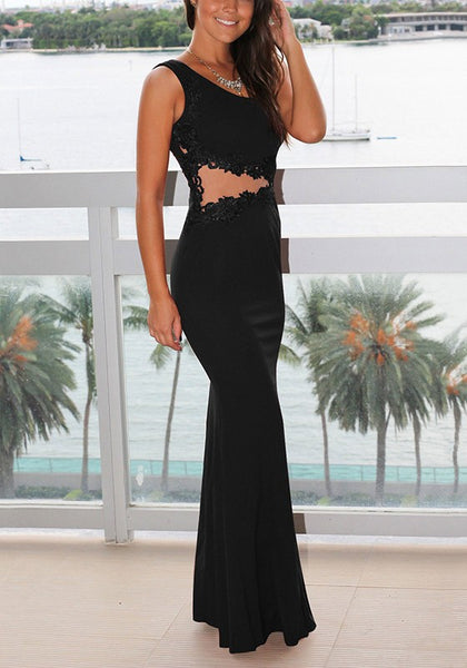 Black Patchwork Asymmetric Shoulder Draped Lace Grenadine Party Maxi Dress
