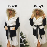 White Panda Print Pockets Hooded Pajamas Mini Dress