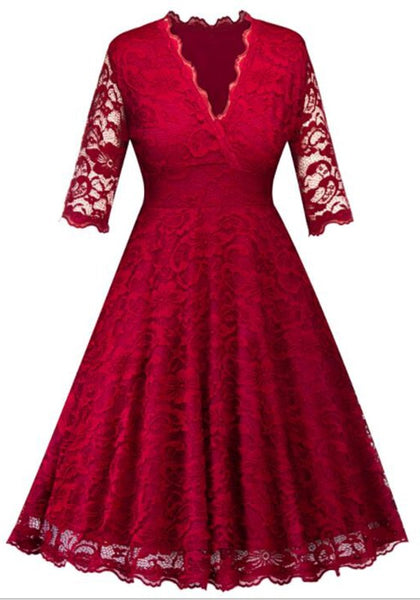 Dark Red Lace Cut Out V-neck 3/4 Sleeve Tutu Prom Evening Party Maxi Dress