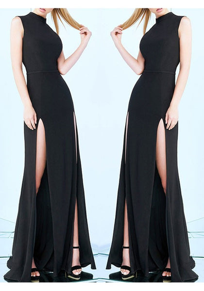 Black Plain Draped Irregular Round Neck Sleeveless Elegant Maxi Dress
