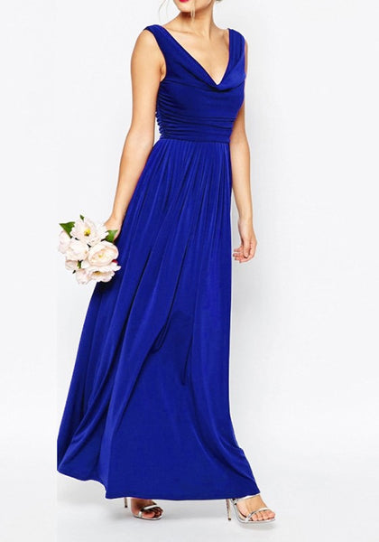 Sapphire Blue Backless Draped Zipper V-neck Sleeveless Maxi Dress