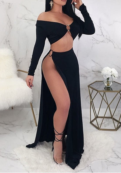 Black Cut Out Side Slit Draped Off Shoulder Beckett Clubwear Party Maxi Dress