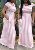 Pink-White Striped Pockets Draped Casual Going out Maxi Dress