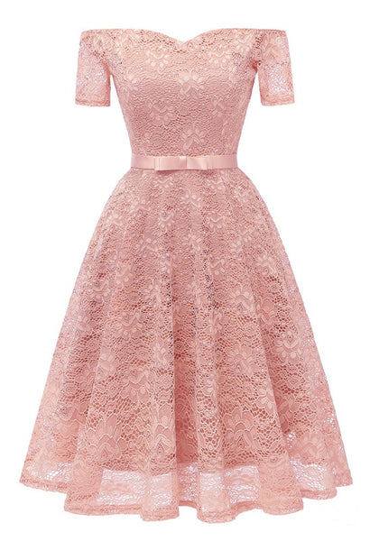 Pink Lace Bow Pleated Off Shoulder Backless Tutu Banquet Elegant Party Midi Dress